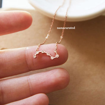 Tiny Delicate Constellation Necklace, Charm Necklace, Hipster Necklace, Dainty Jewelry, Tiny Arrow Necklace, Gift Ideas, Holiday Gifts