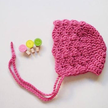 Crochet Baby Bonnet Baby Girl Hat Baby Girl Bonnet Lace bonnet Pink Bonnet Newborn Bonnet Infant Hat Photo Prop Newborn Baby Hat Gift