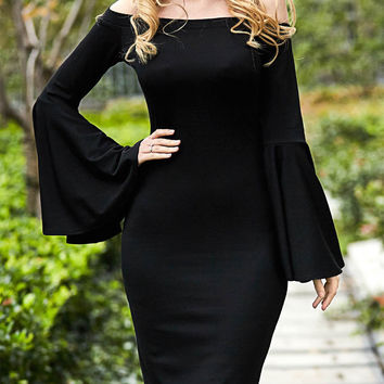 Women Fashion Solid Color boat neck strapless Bodycon Long Sleeve Mini Dress