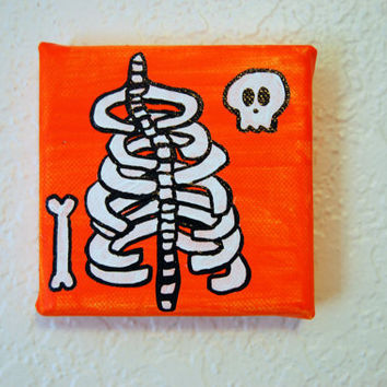 Orange Ribcage and Skull Bone Painting 4x4 canvas Acrylic