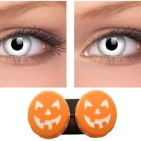White Coloured Contact Lenses for Halloween, Including Halloween Pumpkin Soaking Case   AihaZone Store