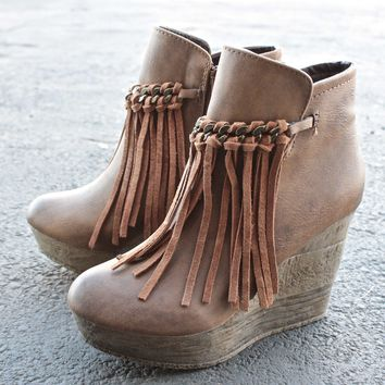 Sbicca Vintage Collection   Zepp Wedge Fringe Ankle Bootie   More Colors