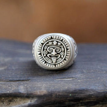 Mayan Ring, Silver Ring, Patterned Ring, Personalized, Mens Sterling Silver Aztec Style Hand made, Brushed Solid Sterling Ring, Man Ring,