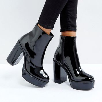London Rebel Patent Platform Boots at asos.com