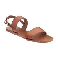 Faux-Leather Double-Strap Sandals for Women