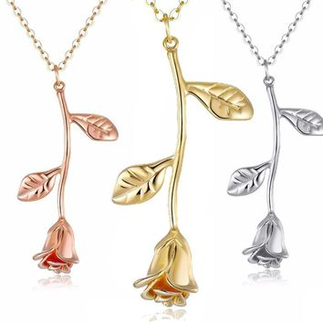 Rose Flower Pendant Necklace For Women 3 Color Boho Plant Vintage Necklaces Charm Statement Jewelry Fashion Party Gifts