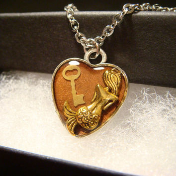 Small  Heart with Mermaid and Key Necklace  (1928)