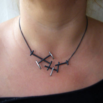 Black twigs. handmade necklace, sculptural sterling silver necklace, geometric dainty necklace, contemporary art jewelry