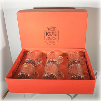 Kaiser Krystal, Handcut Cordials, Original Box, Set of 6, Cordial Glasses, Crystal Glasses