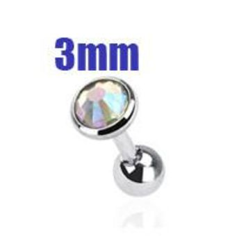 3mm AB Crystal Cartilage Helix Earring, Silver Tragus Piercing Stud