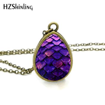 2017 New Purple Dragon Egg Necklace Game of Thrones Tear Drop Pendant Jewelry Vintage Glass Photo Necklaces Gifts Men