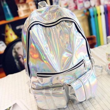 2017 New Fashion Silver Hologram Laser Backpack Women PU Leather Backpacks School Travel Zipper Multicolor Bag Teenagers Mochila