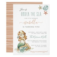 Watercolor Under The Sea Mermaid Birthday Party Card