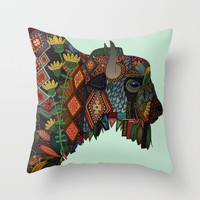 bison mint Throw Pillow by Sharon Turner | Society6