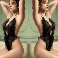 Cute Hot Deal Sexy On Sale Black Lace See Through Plus Size Exotic Lingerie [6595474627]