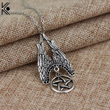statement necklace silver tone Supernatural Castiel Wings Charm maxi Necklace Pendant fashion jewelry chain link