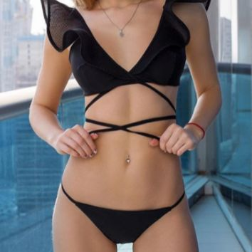 Explosive female split swimsuit net yarn flying sleeve sexy bandage bikini