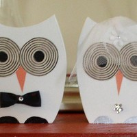 Bride and Groom wooden Owls by TheWoodenOwl on Etsy