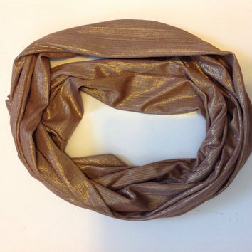 3.00 only! Shimmering Tan infinity scarf, Dark Brown infinity scarf Grey green infinity scarf. Shimmering Knitted jersey WInter neck scarf