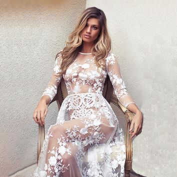 Lace Sexy See Through Party Ball Gown Prom Dress [198524010522]