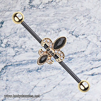 Golden Black Fleur De Lis Industrial Barbell 14ga Scaffold Piercing 316L Surgical Stainless Steel