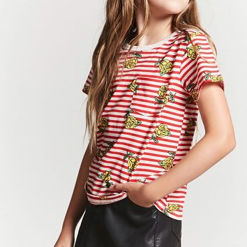 Girls Striped Floral Tee (Kids)