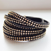 Black soft leather women wrap bracelet Black leather gold rivets studed wrap bracelet Casual women wrap bracelet