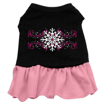 Pink Snowflake Dog Dress - Black with Pink/Small