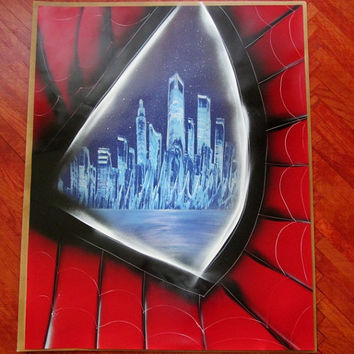 spiderman gifts,superhero wall art,spiderman poster,spiderman painting,spray paint art,superhero home decor,superhero decorations,boys room