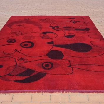 Low Pile 7x10 Red Turkish Rug,  Hand knotted Antique Nursery Rug, Interior Turkish   Design Rug, , 7x9.8 Ft AG659