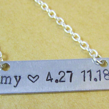 Birthdate Necklace, Personalized Jewelry, New Mom Gift, Gifts for Mom, Hand Stamped Necklace, Date Necklace, Heart Bar Necklace, Mothers Day