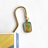 Book Mark - Dichroic Fused Glass on Gold Metal - Orange Yellow
