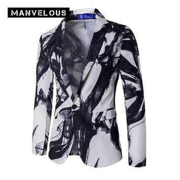 Manvelous Chinese Style Print Blazer Men Casual Fashin Straight Color Block Cotton Blends One Button White Mens Blazer Suit Coat