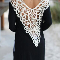Black Crochet Lace Back Side Split Long Sleeve T-shirt