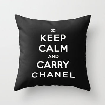 Keep Calm and Carry Chanel Throw Pillow by GuinArt