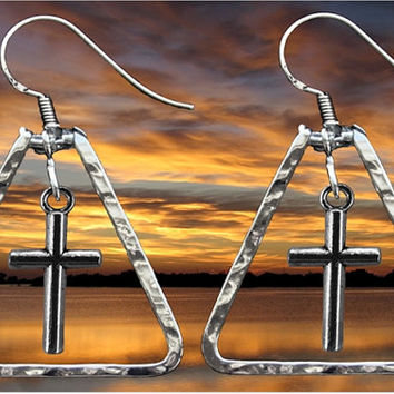 Silver Hand Hammered Cros Triangle Bar Earrings Drop Dangle Womens Girls Christian Jewelry - Saint Michaels Jewelry