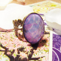 Lilac Opal Adjustable Mood Ring- Bronze