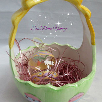 Vintage Green Ceramic Easter Basket Bow Handle One Glass Egg Two Plastic Colored Eggs Pink Colored Grass