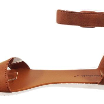 Breckelle's Joy-23 Women's open toe single band buckled ankle strap sandals,7.5 B(M) US,Tan