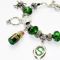 Handmade Hogwarts Slytherin House Silver European Charm Bracelet. Harry Potter