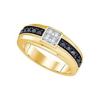 10kt Yellow Gold Mens Round Black Colored Diamond Cluster Wedding Band Ring 3/8 Cttw