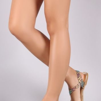Bamboo Glitter Strappy Sling Back Flat Sandals