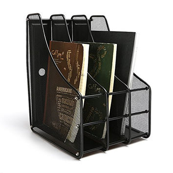 "Aojia Mesh Collection 3-compartment Mesh Magazine and Literature File, Black 11""x9.5""x13.7'h Ly-9303c"