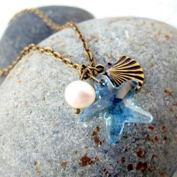 Starfish Necklace Charm Pendant Seashell Pearl by pearlatplay