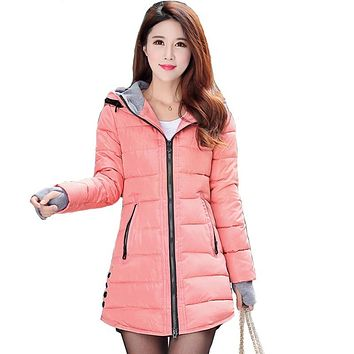 Women winter hooded warm coat plus size candy color cotton padded jacket female long parka