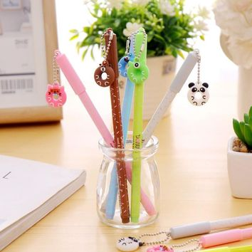 6 pcs/lot Animal doughnut pendant gel pen stationery office material escolar papelaria Writing tools school supplies kids gift