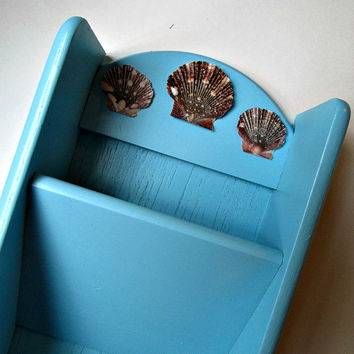 Mail Holder in Pool Blue with Sea Shells Accents