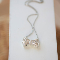 Crystal Bow Necklace - Silver plated ---SILVER- Crystal Bow