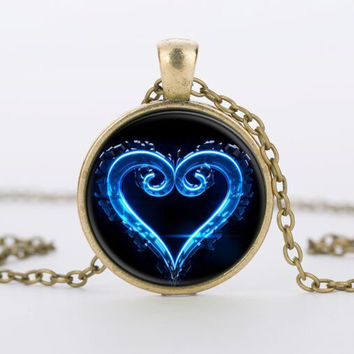 Kingdom Hearts Emblem Symbol  glass Pendant Necklace charms personality Occult necklaces pendants Jewelry FTC-N460