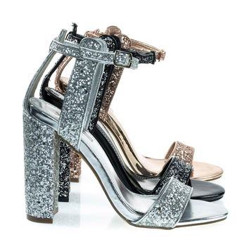 Arianna2 Silver Glitter by X2B, Sparkling Glitter Block Heel Open Toe Party Dress Sandal